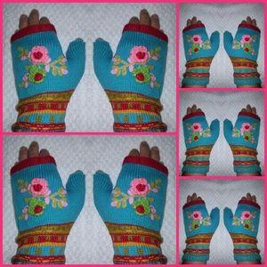 5 NEW Handwarmers knitted + crochet flowers